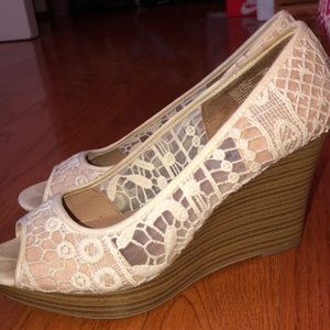 White and tan lace wedges